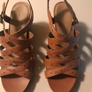 Franco Fortini Womens Strappy Sandals Wedge Heels